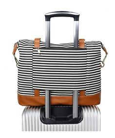 Buy Women Ladies Canvas Weekender Bag Overnight Carry-on Tote Duffel in Trolley Handle (Black Stripe) - Black Stripe - and find your ideal Carry-Ons Luggage at affordable prices and fast shipping. Carry On Tote, Carry On Luggage, Travel Luggage, Luggage Bags, Best Carry On Bag, Luggage Suitcase, Travel Items, Travel Bags Carry On, Travel Wear