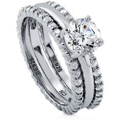 BERRICLE Sterling Silver Round CZ Solitaire Engagement Stackable Ring... ($140) ❤ liked on Polyvore featuring jewelry, rings, 3 piece ring set, clear, women's accessories, round engagement rings, cubic zirconia rings, sterling silver cz rings, round cut engagement rings and sterling silver stackable rings