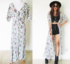 Vintage 90's grunge gypsy pleated crinkled floral flower festival hippie bohemian boho button maxi dress caftan.