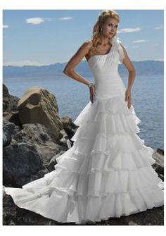 Un hombro playa de organza vestidos de novia
