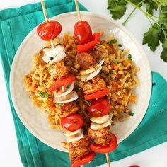 Spiced Chicken Kabobs Over Moroccan Celeriac Rice - Fitnessmagazine.com