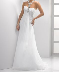 Halter Neck Rhinestoned Women's Noble Backless Court Train Chiffon Wedding Dress - Uniqistic.com