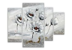 Arte dal Mondo AS417QX1 τοίχο διακόσμηση λευκά λουλούδια Λουλούδια σύγχρονο ακρυλικό ζωγραφική σε καμβά με το χέρι διακοσμημένα, πολύχρωμα, 80 x 109 x 3,5 εκατοστά