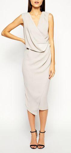 drape midi dress, loving the shoes too!