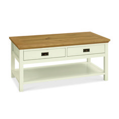 Rustic Two Tone Coffee Table With Drawers - £175 | brandinteriors.co.uk