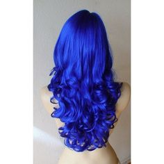 Halloween Special :)) Blue wig. Long curly hair Wig. Cosplay wig. Lol… ❤ liked on Polyvore featuring hair Bright Blue Hair, Dyed Hair Blue, Royal Blue Hair, Hair Dye, Dark Blue Hair, Blue Wig, Royal Blue Color, Hair Colours, Bold Hair Color
