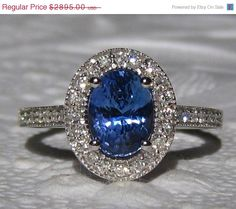 SALE 25% OFF... Blue Sapphire Engagement Ring AGL by JuliaBJewelry