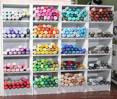 Cubbies for organizing your Copic markers. I found these cubbies online and have my markers in them. It works great! Highly recommend these for Copics or other markers because the shelves are sla
