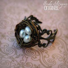Ring  Birds Nest Ring  Adjustable Ring  Genuine by StudioRegency, $32.00