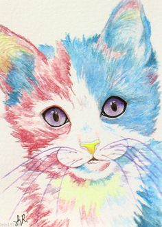 ACEO Art Print Calico Cat Kitten Feline Animal Pet Cotton Candy Painting LaRusc #Realism