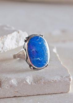 Feathered Lapis Lazuli Inlay Ring - Size 10