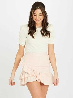 Shop Jules Skirt at Altar'd State. A touch of flirty and a dash of feminine, we are loving this ruffle front wrap skirt! Cute Dresses, Short Dresses, Satin Cami, Front Tie Top, Pants Pattern, Spring Looks, Feminine, Tunic Tops, Style Inspiration