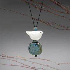 Bird Necklace spirit bird handmade ceramic bird by SueDavisJewelry, $48.00