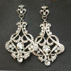 Crystal Chandelier Bridal Earrings, Vintage Style Chandelier Wedding Earrings, Victorian Style Statement Bridal Earrings, CRESSIDA