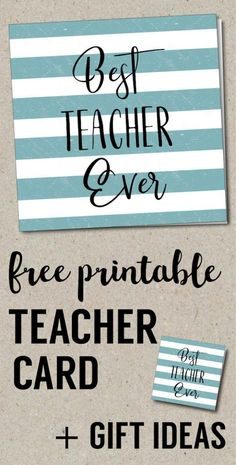 Teacher Gifts : Best Teacher Ever Card Free Printables. Gift Tags for teacher appreciation gifts. Teacher gift ideas for the end of the year. Teacher Appreciation Gifts, Teacher Gifts, Best Teacher Ever, Diy Hanging Shelves, Teacher Christmas Gifts, Christmas Fun, Holiday Fun, Paper Trail, Diy Home Decor Projects