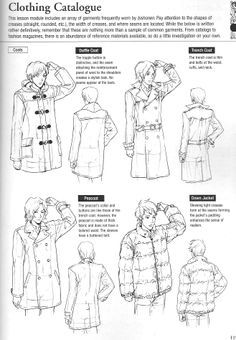 "references and tutorials fungii | More clothing drawing guides from Graphic-Sha's ""Drawing Yaoi"" - coats ..."