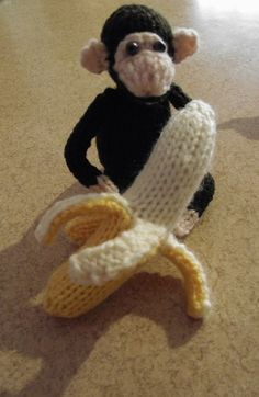Chimp with his lunch.  Alan Dart patterns. Love the banana!