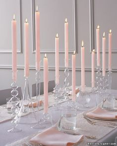 Table settings and candle centerpieces martha stewart weddings Inexpensive Wedding Centerpieces, Non Floral Centerpieces, Candle Centerpieces, Wedding Table Centerpieces, Wedding Decorations, Table Decorations, Wedding Ideas, Floral Arrangements, Centerpiece Ideas