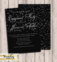 Engagement Party Invitation Silver Lights by TownleyDesigns