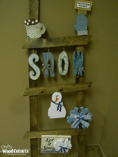 """Unfinished January Ladder Kit Wood Craft. This craft is about 59.5"""" x .75"""" x 19"""" and costs $28.79."""