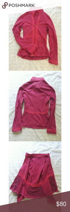 {lululemon} pink jacket The perfect on the go slim fit jacket from lululemon  A vibrant hot pink with figure flattering detailing and slightly flared sleeves  Features 2 mesh pockets on front, and one on the back that are perfect for carrying your essentials while out on a run  Stay cool with the mesh insets under the arms in the armpit area so you don't have to worry about pit stains  Tag has been cut out. Features the lululemon symbol on the back as well as on all the zipper pulls…