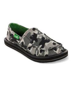 Snow Camo Army Brat Strap Slip-On Shoe - Kids by Sanuk #zulily #zulilyfinds