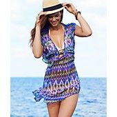 Becca Cover Up, Short-Sleeve V-Neck Printed Tunic
