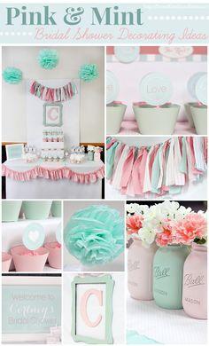 Pink U0026 Mint Bridal Shower Decorating Ideas