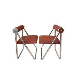 Giancarlo Piretti 1970s Folding Chrome Chairs