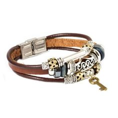 Secret Key Leather Bracelet via Green Giving Tree. Click on the image to see more!