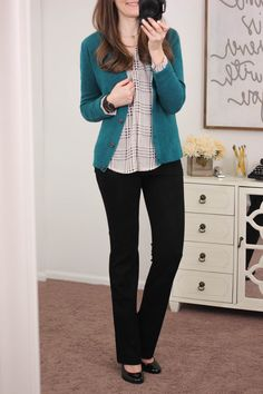 Dear Stitch Fix Stylist: I would LOVE to try these pants! They look great and based on the post they have an elastic waist! They sound super comfy! Geri Bootcut Pant from Lysse - January Stitch Fix Only Cardigan, Teal Cardigan, Cardigan Outfits, Green Sweater, Business Casual Outfits, Professional Outfits, Business Professional, Business Attire, Work Fashion