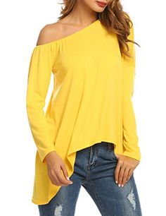 a1957850fbaed SE MIU Women s Casual Cold Shoulder Tops Sleeve T Shirts Loose Fit Blouse  at Amazon Women s Clothing store