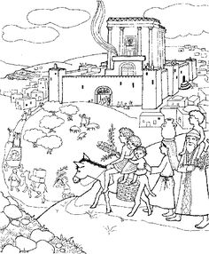 jerusalem coloring pge | ... .com: Pilgrims on their way to the Temple of Jerusalem coloring page