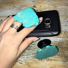 Turquoise Stone Phone Holder Socket, I have this and it's amazing! Turquoise Stone, Turquoise Jewelry, Silver Jewelry, Peridot Jewelry, Gold Jewellery, Skull Jewelry, Best Jewelry Stores, Phone Holder, Jewelry Trends