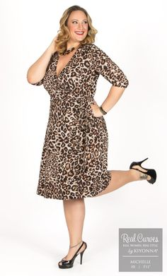 "Real Curve Cutie Michelle (5'11"" and a size 0x) is the cat's meow in our leopard plus size Essential Wrap Dress.  www.kiyonna.com  #KiyonnaPlusYou  #MadeintheUSA  #OOTD"