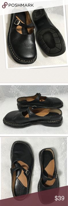 BORN Black Leather Slip On Backless Mary Janes Excellent pre owned condition. Almost no signs of previous wear. Slip on backless mule style Mary Janes bu BORN. Size 6/ 36.5 Born Shoes Flats & Loafers