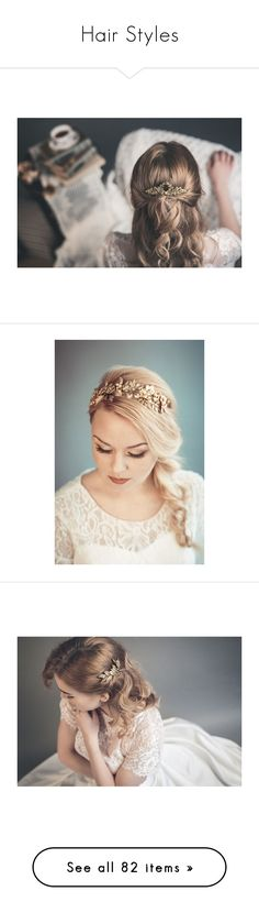 """Hair Styles"" by beck-bows-and-ribbons ❤ liked on Polyvore featuring accessories, hair accessories, gold hair accessories, bride hair accessories, gold comb, bridal comb, hair comb accessories, bridal hair accessories, beauty products and haircare"