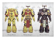 Portfolio - Space Marines by MikaelDuvskog Warhammer 40k Rpg, Warhammer Paint, Warhammer 40k Miniatures, Marine Costume, Marine Colors, Imperial Fist, The Grim, Space Marine, Dark Fantasy