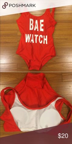 Bae Watch Swimsuit - One Piece Bae Watch Swimsuit - One Piece  Sexy low back Padding in chest area                           Halloween costume idea.                                        Runs a little small, has a little stretch.          Good condition, worn once for a photo op (with under garments) Swim One Pieces