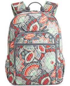 Old school cool. Vera Bradley's Campus Backpack combines all the fun details you've come to love in one toss-on-and-go piece, featuring comfy adjustable straps and a lightweight quilted construction t