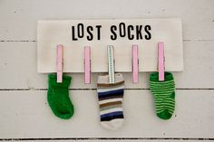 Lost socks ~ cute in a laudry room
