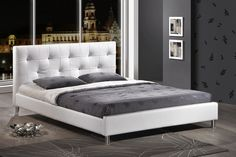 Korra Ultra Modern King Size Bed White Upholster With Faux Leather
