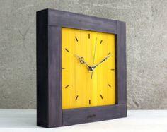 Wooden Shelf Clock Yellow Book Shelf Wall Decor Wood