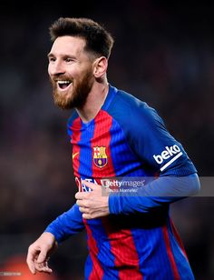 Lionel Messi of FC Barcelona celebrates after scoring his team's fourth goal during the La Liga match between FC Barcelona and RCD Espanyol at the Camp Nou stadium on December 2016 in Barcelona, Spain. Lional Messi, Messi And Ronaldo, Lionel Messi Barcelona, Barcelona Football, Rcd Espanyol, Messi Photos, Good Soccer Players, Football Players, Camp Nou