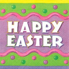 Happy Easter Egg 2-ply lunch size paper napkins feature an Easter egg design in pastel colors of yellow, green, pink and lilac with  Happy Easter  printed in the center, perfect for any Easter celebration. Happy Easter Egg Luncheon size napkins measure 6 1/2in x 6 1/2in. Package contains 16 napkins.