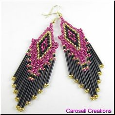 Native American Style Pink Black and Gold Beaded Chandelier Dangle Earrings TAGS - Jewelry, Earrings, Beaded, bugle beads, carosell creations, pink, black, gold, weaved, woven, brick stitch, glass, seed beads, pierced, accessories, dangle, chandelier, holiday gift idea, shoulder dusters, country, gypsy, chic, tribal, traditional, women, native american indian, southwestern