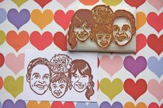 Hand Carved Custom Family Portrait Stamp -DIY Stationery, Return Address, Lavel, Christmas cards, Thank You Cards-. $130.00, via Etsy.