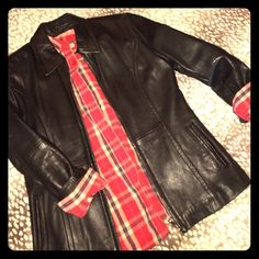 Genuine leather jacket Real leather she'll, sleek design no details except pockets. Would make a great gift! Petite Sophisticate Jackets & Coats