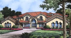 Plan BHG-5050 Stories: 2 Total Living Area: 5583 Sq. Ft. First Floor: 3465 Sq. Ft. Second Floor: 2118 Sq. Ft. Bedrooms: 6 Full Baths: 6, Half Baths: 1 Width: 101 Ft. 4 In. Depth: 86 Ft.  Foundation: Slab
