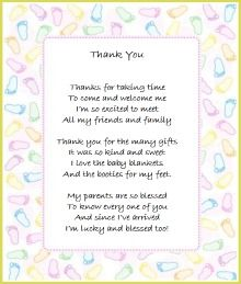 Neutral Thank You Poem From Baby